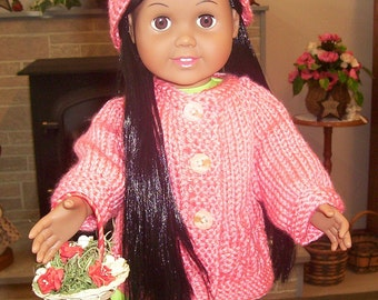 American Girl Knit Sweater Hat Set Peach White or Any Color Springfield Gotz 18 inch Doll Clothes Christmas Gift Girl