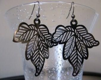 Gunmetal Laser-Cut Leaf Earrings with Gunmetal Fish Hooks