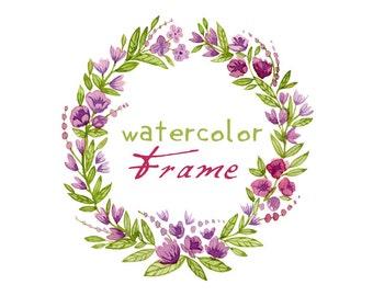 Digital Wreath, Digital Clipart, Watercolor Flowers, Floral Frame, Watercolor Frame