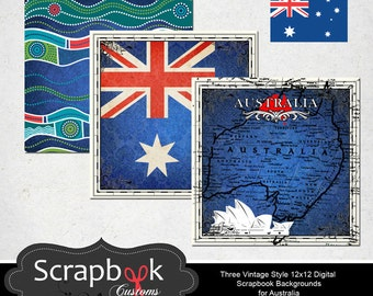 Australia Digital Scrapbooking Paper. Instant Download.