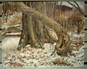 Original Landscape Oil Painting- February Trees