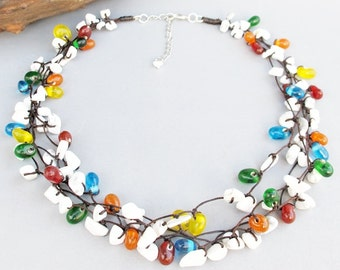 White Howlite Chip Stone with Multi Color Glass Bead Multi Strand Necklace