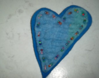 Felted Blue Heart Brooch