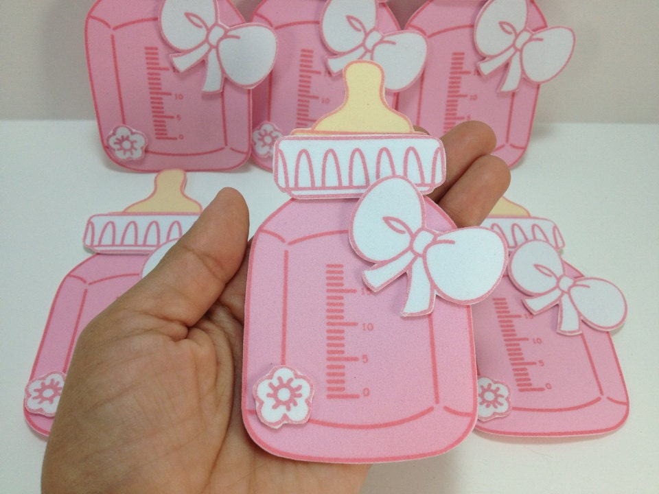 6 pink foam baby bottle baby shower decorations for Baby bottle decoration