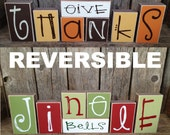 REVERSIBLE Give thanks Jingle bells block set great home family decor for Christmas thanksgivng fall gift