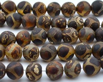 14.5 IN    8mm  Tibetan  Agate   dZi   beads