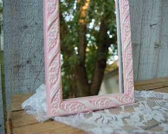 Mirror, Shabby Chic, Pink, White, Wedding Decor, Upcycled, Hand Painted, Nursery Decor, Hand Painted