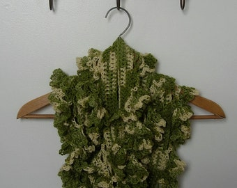 Alpaca mix yarn crochet scarf - Spring green & primrose yellow.
