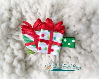 Christmas or Holiday Present Ribbon Sculpture Hair Clip
