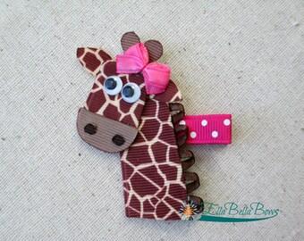 Giraffe Ribbon Sculpture Hair Clip, Safari Hair Bow
