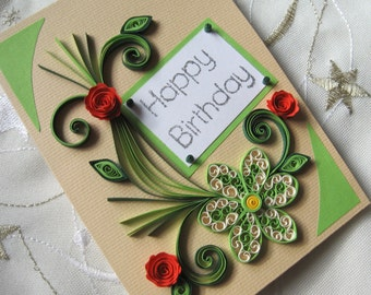 Happy Birthday Card - Handmade Quilling Card -  Quilled Flowers Design - Lime Green Paper Ornaments - Red Roses
