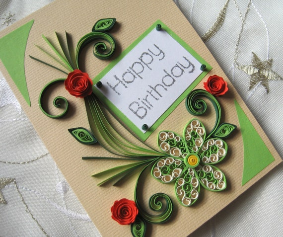 happy birthday card handmade quilling card by stoykasart, Greeting card
