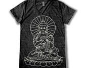Buddha graphic print  Women's round neck T-Shirt