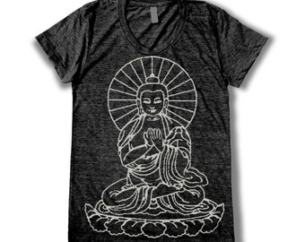 Buddha graphic print  Women's round neck T-Shirt
