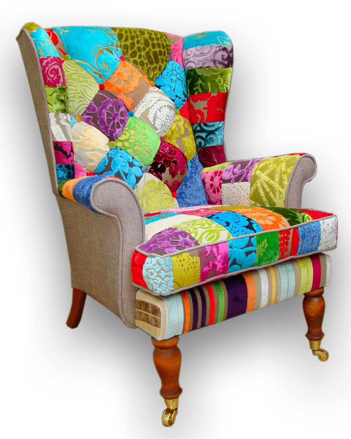 Patchwork wing back armchair in Designers Guild velvets and