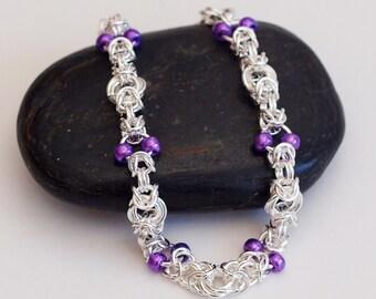 Beaded Chainmaille Bracelet, Metallic Purple Bead Bracelet, Byzantine Chainmaille Bracelet, Beaded Byzantine Bracelet, Mobius Knot Bracelet