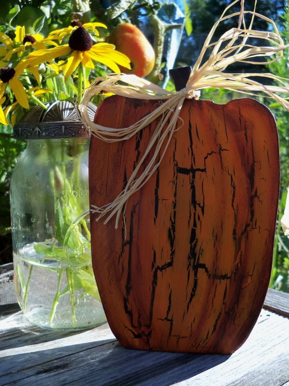 Hand Painted Wooden Crackled Pumpkin