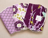 Baby Girl Burp Cloths - Burp Rags - Joel Dewberry Aviary 2 Plum Sparrows, Lodge Lattice and Bloom in Lilac - Baby Shower Gift Birds