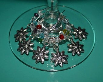 6 pack FLOWERS wine glass charms with Swarovski crystals