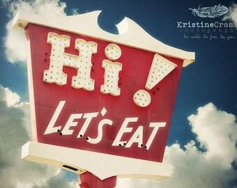 Vintage sign, vintage neon, Diner, Retro Diner, Summer, Vintage Style Art, Photographic Print, Kristine Cramer  Photography