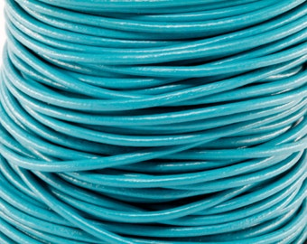 50 Meter Spool of 2MM Turquoise Round Leather Cord (50 Yards) (50m) Roll
