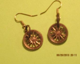 spoked wheel earring, bronze