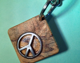 Spalted Tamarind Keychain with Peace Symbol