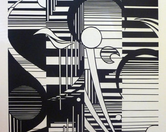 Art Abstract Line Design, Cut Paper Mounted on Illustration Board, Black and White Art, One of a Kind, OOAK Art