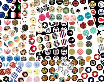 40 Planches de 54 images digitales pour cabochons RONDES 12MM