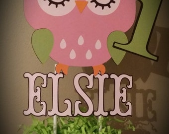 Owl Cake Topper with name and age