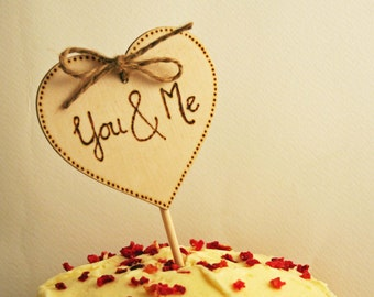 Wedding Cake Topper You & Me Rustic cake topper