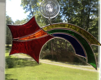 Stained Glass Rainbow Shooting Star