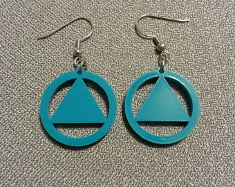 AA circle and triangle earrings