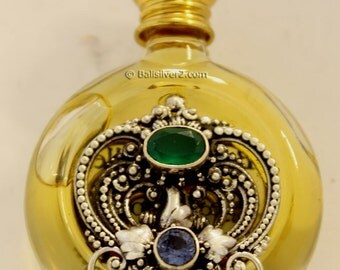 Sterling  Silver 925 perfume bottle Gemstone emerald Iolite peridot unique gift item