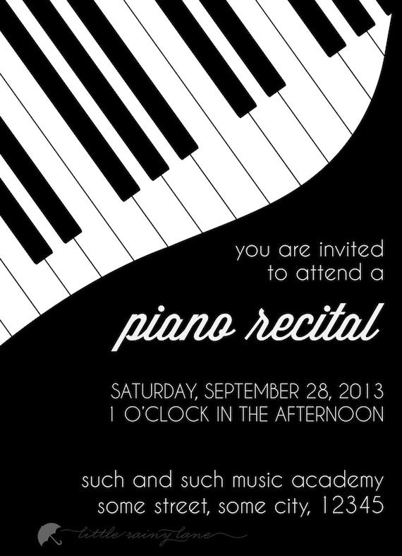 piano recital invitation custom