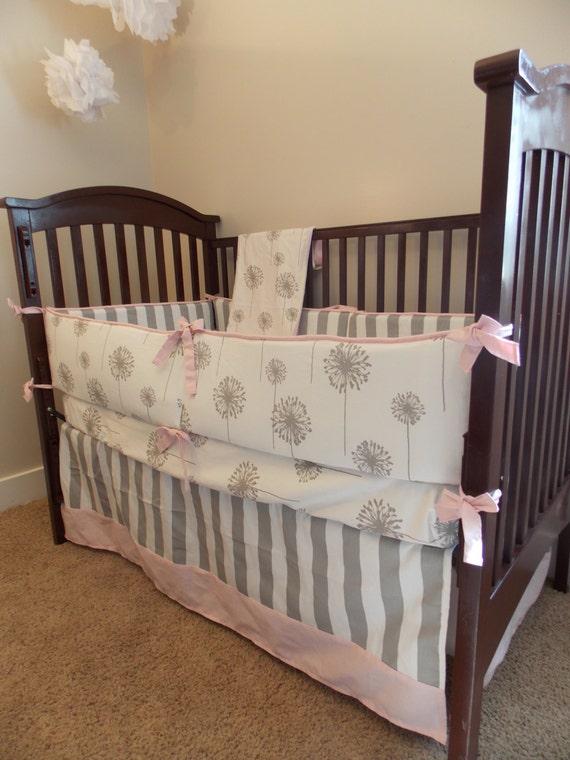 items similar to custom crib bedding set blush light pink grey on etsy. Black Bedroom Furniture Sets. Home Design Ideas