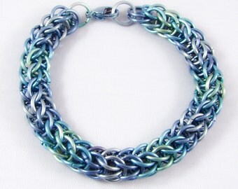 Blue & Green Titanium Chainmail Anklet
