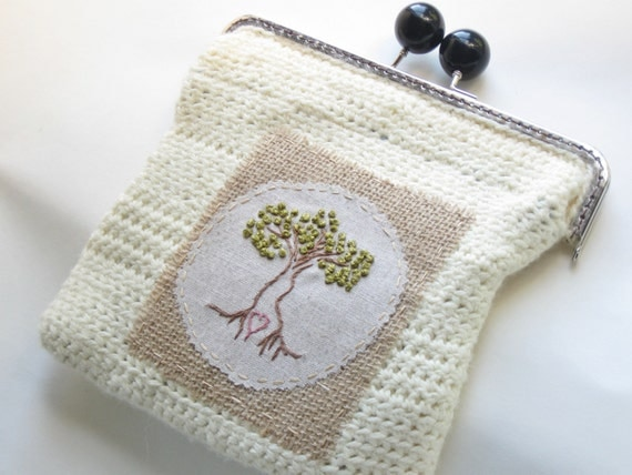 Clutch Bag Crochet : crochet clutch purse, embroidered coin purse, eco-friendly, trees ...
