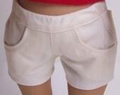 Cream Twill Jean Shorts for 18 inch dolls