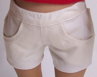 Cream Twill Jean Shorts for American Girl and similar 18 inch dolls