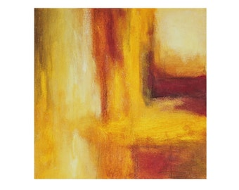 yellow painting red abstract original painting orange modern art Harmony Leah Fitts