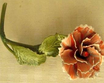 Vintage Broach Peach Carnation Enamel Pin Green Leaves Red Rhinestone  #019