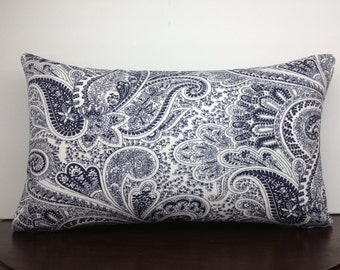 Classic Navy Blue and White Paisley 12x20 Lumbar Pillow Cover, Decorative Pillow, Accent Pillow