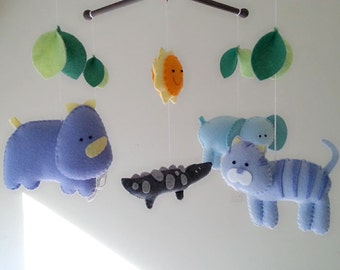 "Baby crib mobile, safari mobile, animal mobile, felt mobile ""Blue safari 2"" - Tiger, Hippo, Elephant, Alligator, Monkey"
