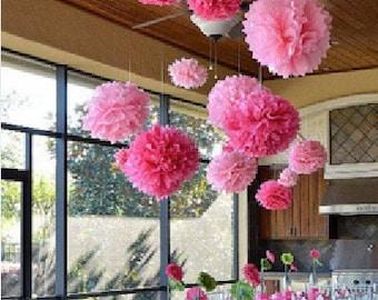 10pcs 14inch FREE SHIPPING Tissue paper Pom Poms Wedding Decoration Party Birthday Bridal Flower Ball Celebration Gift wholesale