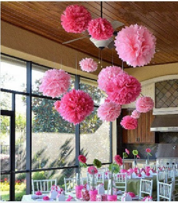 items similar to 10pcs 14inch free shipping tissue paper pom poms wedding decoration party. Black Bedroom Furniture Sets. Home Design Ideas