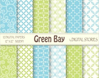Turquoise Green Arabesque Digital Paper Pack - Green Bay
