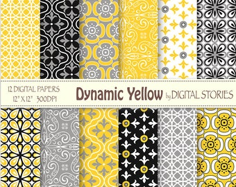 Yellow Black Gray Retro Digital Scrapbook Paper Pack - Dynamic Yellow - Instant Download