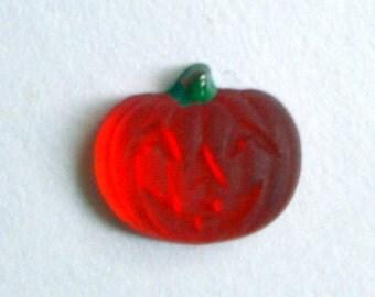 12 Orange Jack O Lantern Cabochons   Halloween Pumpkin   Pumpkin Vintage Glass Cabochons   7 mm Pumpkin