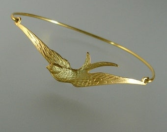 Gold Swallow Bangle Bracelet, Gold Bangle Bracelet, Gold Swallow Bracelet, Bridesmaid Jewelry, Gold Bracelet (168G,)